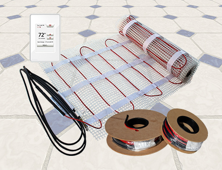 ComfortTile radiant floor heating cable and mat.